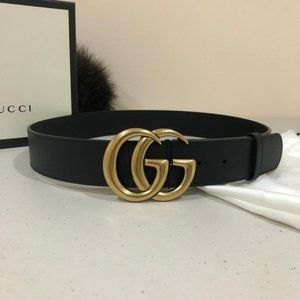 "NWT Gucci Belt Black 1.0"" Leather Gold GG 80CM"